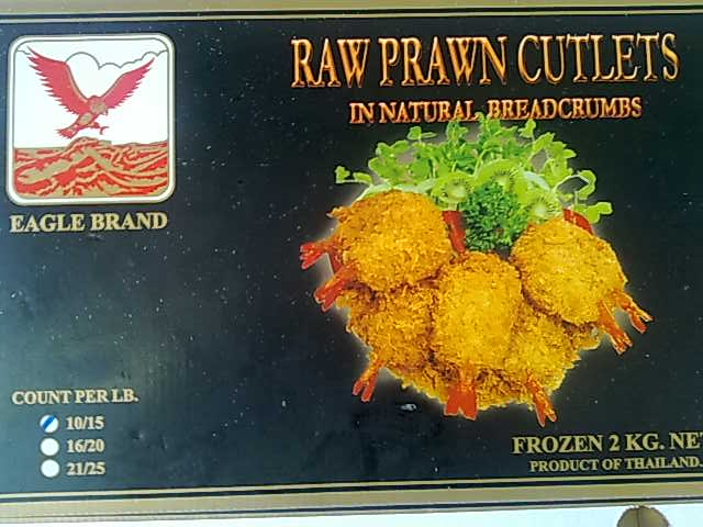 Frozen Black Tiger Prawn Cutlet 10/15 Crumbed